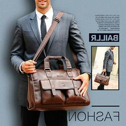 Men Cowhide Leather Briefcase Messenger Handbag Business Lap