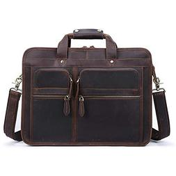 """S-ZONE Men's Crazy Horse Leather Briefcase 15.6"""" Laptop Tote"""