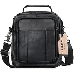 Jack&Chris Men's Genuine Leather Messenger Crossbody Bag Sli