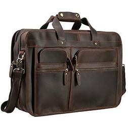 "Polare Men's 17"" Full Grain Leather Messenger Bag for Laptop"