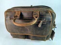 Jack&Chris Men's Handmade Leather Briefcase Laptop Bag Messe