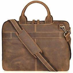 Jack&Chris Men's Lawyer Briefcase Laptop Bag Leather Messeng