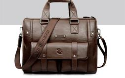 Scione Men Leather Briefcase Large Capacity Business Messeng
