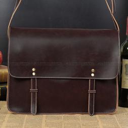 Men Leather Briefcase Messenger Bag Business Casual Shoulder