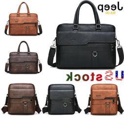 JEEPBULUO Men's Leather Briefcase Shoulder Bag Crossbody Bus