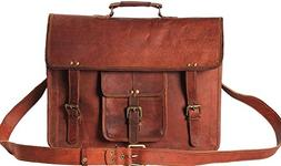 Men's Leather Messenger Bag - Rugged Vintage Laptop Messenge