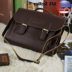 Men Leather Messenger Shoulder Bags Business Work Briefcase