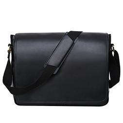 Leathario Men's Leather Shoulder Bag 14inch Laptop Bag Mes