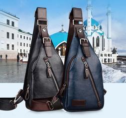 Men Leather Sling Bag Crossbody Backpack Daypack Cross body