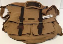 """GEARONIC Mens Canvas Leather Messenger Bag for 14"""" 17"""" Lapto"""