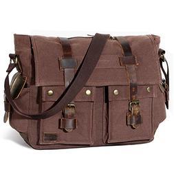 "Lifewit 15.6"" Men's Messenger Bag Vintage Canvas Leather Mil"
