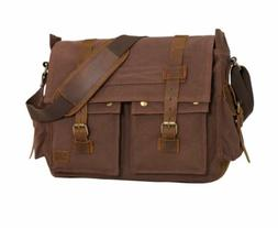 Wowbox 17 Inch Men's Messenger Bag Vintage Canvas Leather Sa
