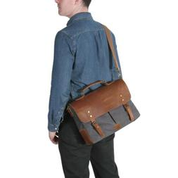 Lifewit 14'' Men Messenger Bag Vintage Canvas Leather Milita