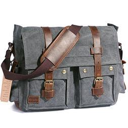 """Lifewit 15.6""""-17.3"""" Men's Messenger Bag Vintage Canvas Leath"""