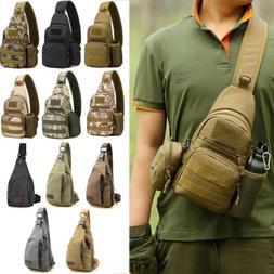 Men Military Backpack Travel Chest Bag Shoulder Sling Retro