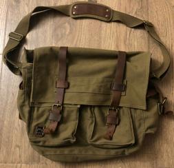 Berchirly Men Military Canvas Messenger Crossbody Bag Green