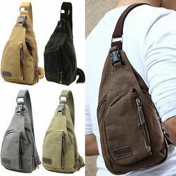 Men Canvas Shoulder Bag Travel Male Hiking Crossbody Messeng