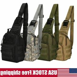 Men Molle Tactical Sling Chest Bag Assault Pack Messenger Sh