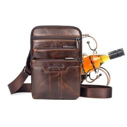 Men Oil Wax Leather Cowhide Sling Chest Bag Cross Body Messe