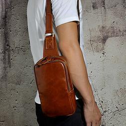 Men Real Leather 9'' Sling Shoulder Backpack Chest Day Pack