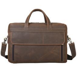 men real leather briefcase 15 laptop handbag