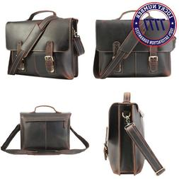 Polare Men'S 14'' Real Leather Professional Messenger Bag La