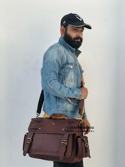 """Men's 15.5"""" Handmade Leather Retro Messenger Shoulder Bag Of"""
