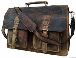 "Men's 15"" Retro Buffalo Leather Laptop Messenger Bag Office"