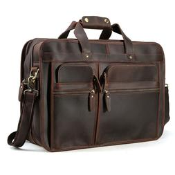 """Men's 17"""" Full Grain Leather Messenger Bag For Laptop Briefc"""