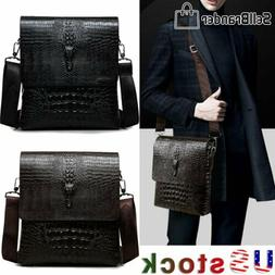 Men's Alligator Briefcase PU Leather Shoulder Bag Handbag Me