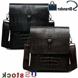 Men's Alligator Leather Briefcase Shoulder Bag Messenger Bag