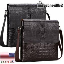 Men's Alligator Leather Messenger Bags Briefcase Shoulder Ba