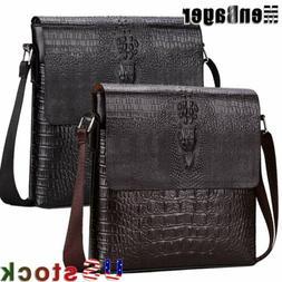 Men's Alligator PU Leather Briefcase Shoulder Messenger Bag