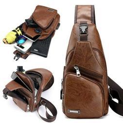 Men's Boy's Leather Sling Chest Bag Shoulder Crossbody Backp