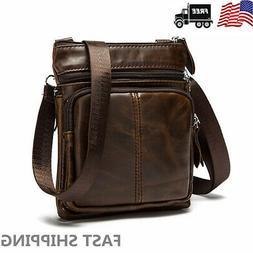 Men's Business Leather Shoulder Bag Messenger Crossbody Brie