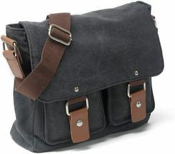 Peacechaos Men's Canvas & Leather Messenger Bag
