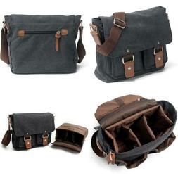Peacechaos Men's Canvas Camera Bag Leather DSLR SLR Camera C
