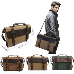 Men's Canvas Leather 15.6'' Laptop Briefcase Crossbody Messe
