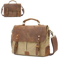 Men's Canvas Leather Briefcase CrossBody Laptop School Shoul