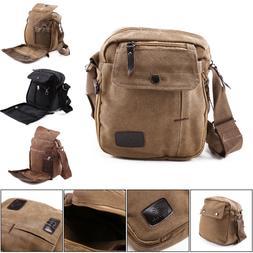 Men's Canvas Leather Satchel School Military Shoulder Bag Me