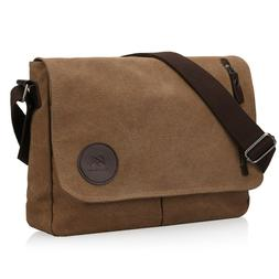 Men's Canvas Shoulder Messenger Bag Crossbody Day Bag Laptop