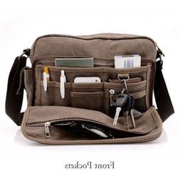 Men's Canvas Shoulder Messenger Bag Travel Tip School Book B