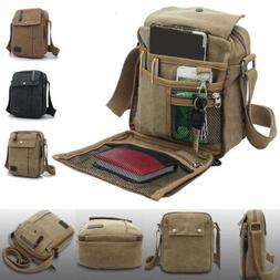 Men's Canvas Synthetic leather Satchel School Military Shoul