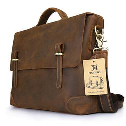 Kattee Men's Crazy Horse Leather Bag Business Messenger Shou