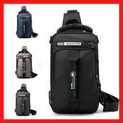 Men's Crossbody Shoulder Chest Sling Backpack Anti-Theft USB