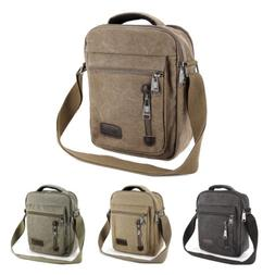 Men's Gents Travel Work Canvas Small Messenger Style Shoulde