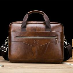 Men's Genuine Cow Leather Business Briefcase Messenger Bags