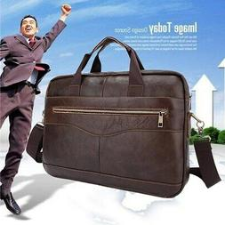 Men's Genuine Leather Briefcase Handbag Business Laptop Shou