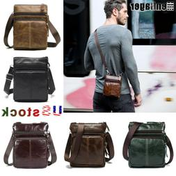 Men's Genuine Leather Business Small Flap Crossbody Shoulder