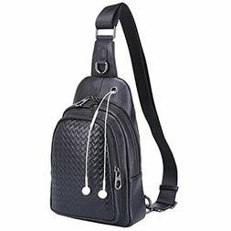 Banuce Men's Genuine Leather Versatile Sling Bag Shoulder Ch
